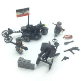 WW2 German Military Building Brick Set w/ Artillery & Motor Tricycle (2 Figures)