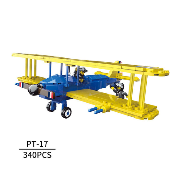 The Fighter of World War II PT-17 Stearman Biplane Building Bricks Set (340 PCS)