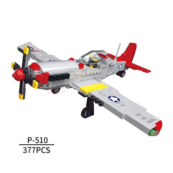 The Fighter of World War II North America P-51D Mustang Building Bricks Kit (377 PCS)