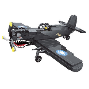 WW2 Military Air Force Classic US Airplane Flying Tigers Curtiss P-40 Shark Fighter (483PCS)