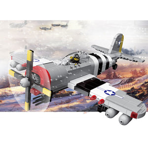 WW2 Military America Air Force P-47 Thunderbolt Fighter Air Forces Plane Building Bricks Set (699PCS)