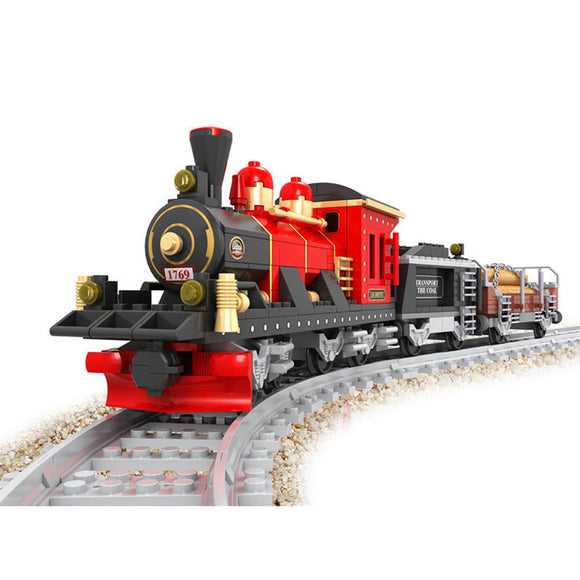 Ausini Classic Vintage Steam Trains Building Bricks Set, Collectible Coal Transporter Train Track Set 25705 (410PCS)