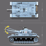 QG WW2 German Military Tank Panzer 4 Building Bricks Set 719 PCS