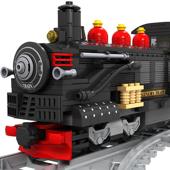 Ausini Classic Vintage Steam Trains Building Bricks Set, Collectible City Railroad Train Track Set 25812 (586PCS)