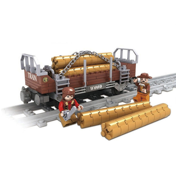 Ausini Classic Steam Train's Wood Transporter Building Bricks Set, 25413 (150PCS)