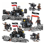 WW2 Military Building Blocks Figures Set German Army Troops with Artillery