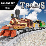 Classic Steam Coal & Wood Transporter Building Bricks Set, Collectible Old Aged Railroad Trains Track Set 25809 (483PCS)