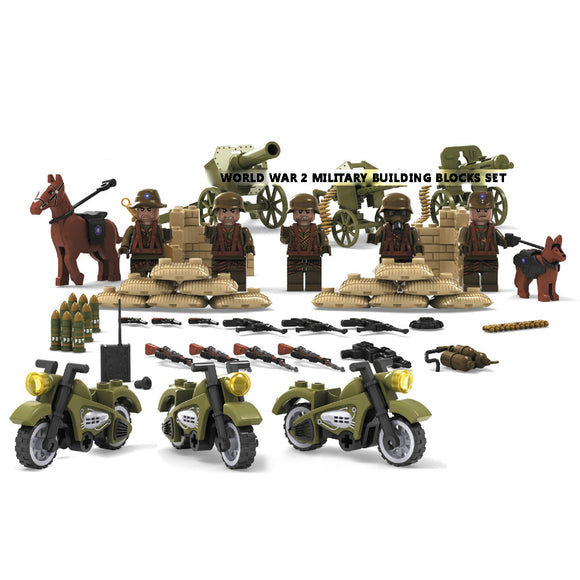 WW2 Building Blocks Figures Set Asian Army Troops with Military Motorcycle