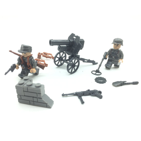 Custom Mini WW2 German Military Building Set w/ Artillery (2 Figures)
