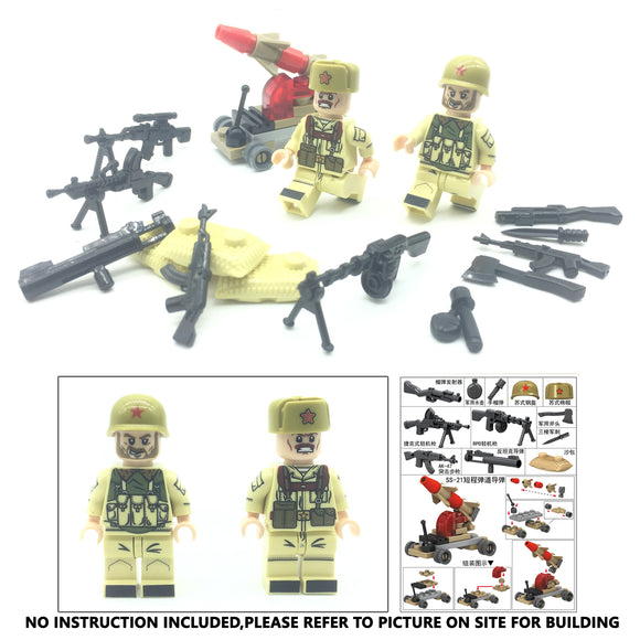 Mid East War Russian Military Building Brick Set w/ Weapons (2 Figures)