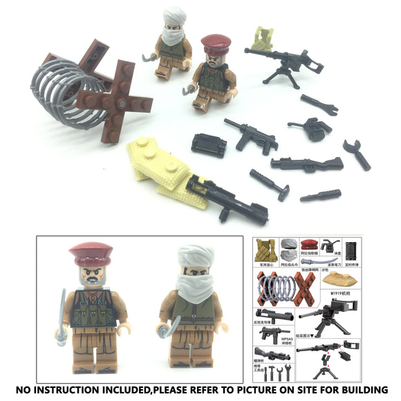 Mid East War Afghan Military Building Brick Set w/ Weapons (2 Figures)