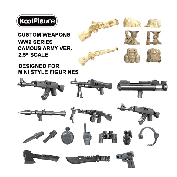 Koolfigure Camouflage Army Accessories Set 3 with 2 Random Figures