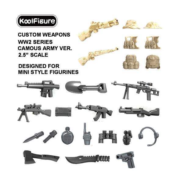 Koolfigure Camouflage Army Accessories Set 2 with 2 Random Figures