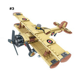 WWII Trucks & Air Plane Building Bricks 4in1 Set with Custom Minifigures