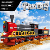 Ausini Classic Vintage Steam Trains Building Bricks Set, Collectible City Railroad Train Track Set 25610 (406PCS)