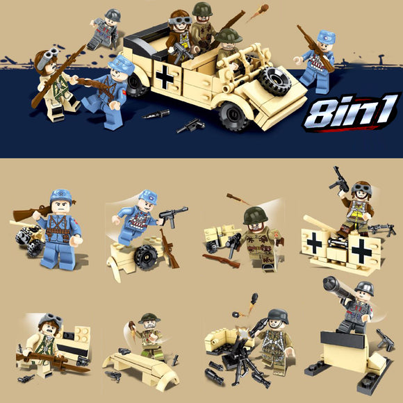 DLP 8in1 Custom WW2 Military Building Blocks Figures Set