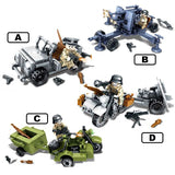 DLP 4in1 Custom WW2 Military Soldiers & Vehicles Building Blocks Set