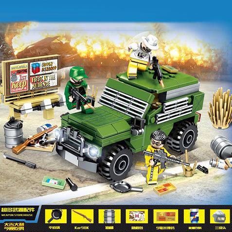 Custom PUBG Military Truck Building Blocks Set with 3 Minifigures
