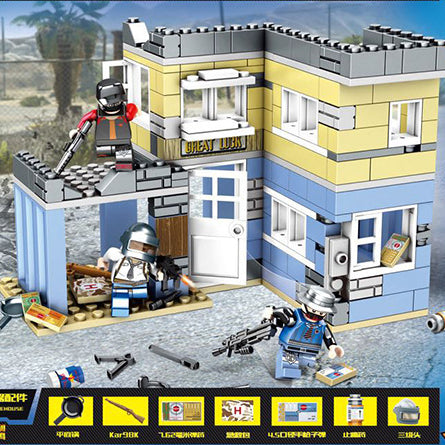Custom PUBG Military Building Blocks Set Ruin Buildings with 3 Minifigures
