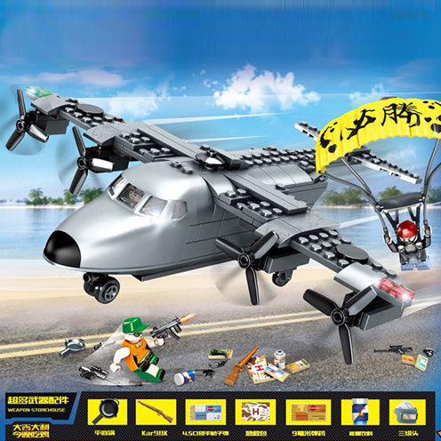 Custom PUBG Military Building Blocks Set Airplane with 3 Minifigures