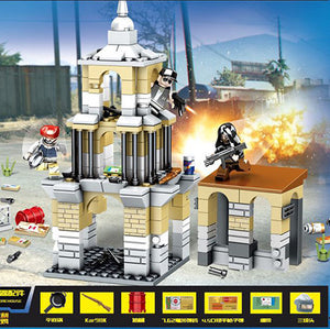 Custom PUBG Military Building Blocks Set Battle in Buildings with 3 Minifigures