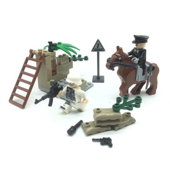 Custom Mini WW2 German Military Building Set w/ War Horse (2 Figures)