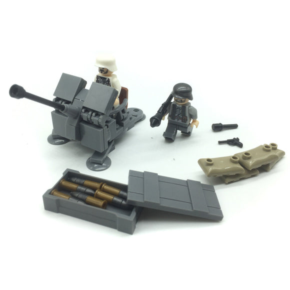 Custom Mini WW2 German Military Building Set w/ Heavy Machine Gun (2 Figures)