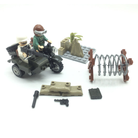 Custom Mini WW2 German Military Building Set w/ Motorcycle (2 Figures)