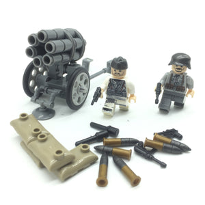 Custom Mini WW2 German Military Building Set w/ Aritllery (2 Figures)