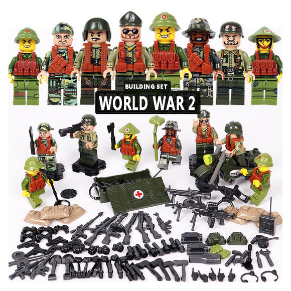 Custom WW2 Military Building Blocks Figures Set US Army & North Korea