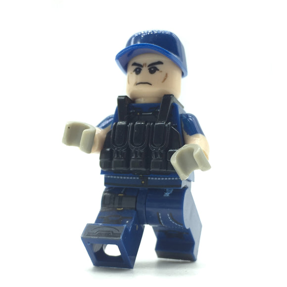 Custom Military Minifigure The Wolf Army Blue 1PCS