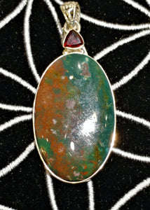 Bloodstone Pendant Sterling Silver - Ruby Dragon
