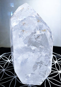 Clear Quartz Channel Standing Point - Ruby Dragon