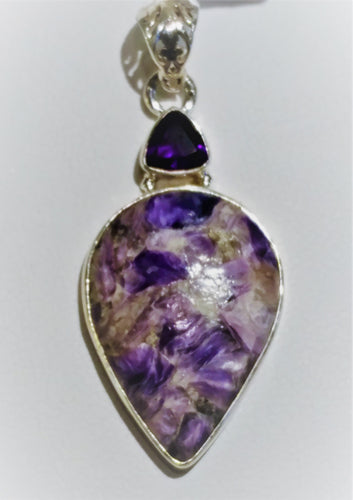 Charoite Sterling Silver Pendant - Ruby Dragon