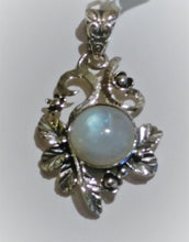 Rainbow Moonstone Sterling Silver Pendant - Ruby Dragon