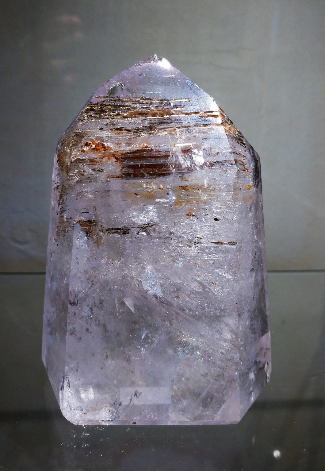 Elestial Quartz with Amethyst Standing Point - Ruby Dragon