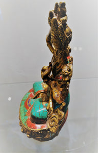 Goddess Tara Brass Turquoise Coral Statue - Ruby Dragon