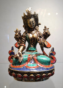Goddess Tara Brass Statue with Turquoise Coral Lapis