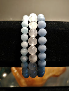 Bracelet Set ~ Angelite, Aquamarine, Clear Quartz - Ruby Dragon