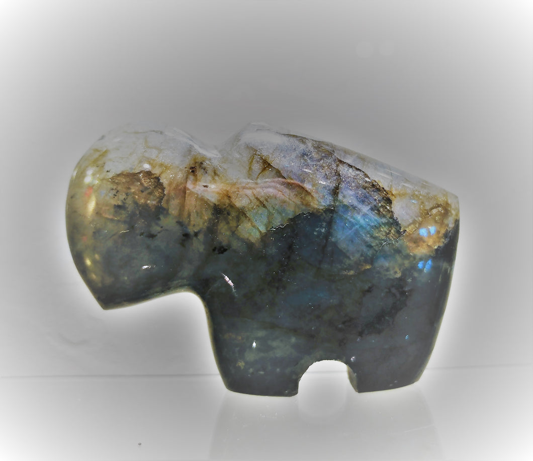 Labradorite Buffalo Carving - Ruby Dragon
