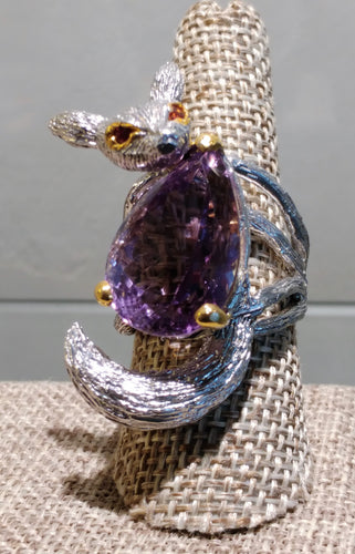 Amethyst Sterling Silver Fox Ring - Ruby Dragon