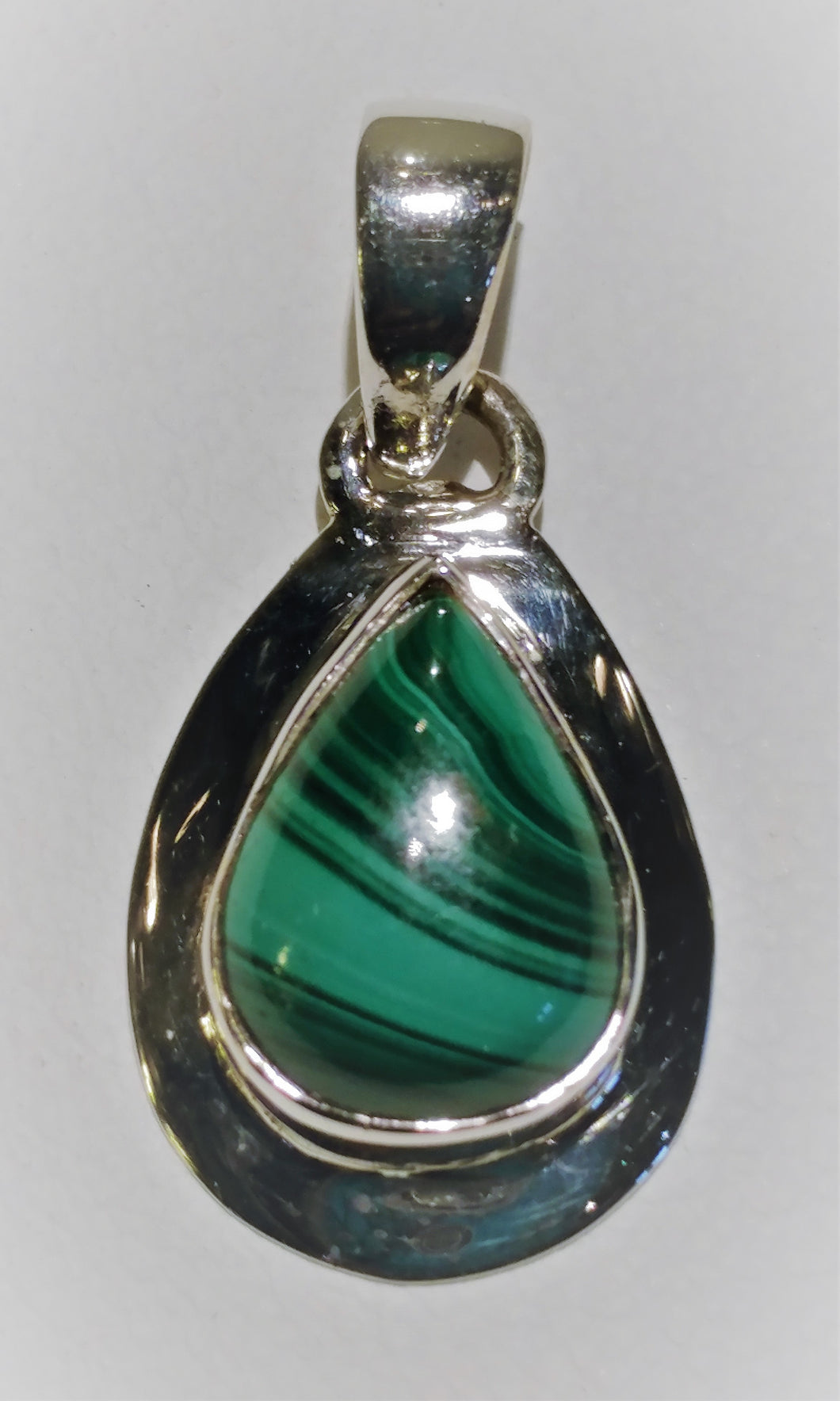 Malachite Sterling Silver Pendant - Ruby Dragon