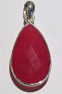 Ruby Sterling Silver Pendant - Ruby Dragon