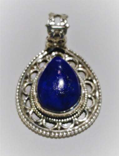 Lapis Sterling Silver Pendant - Ruby Dragon