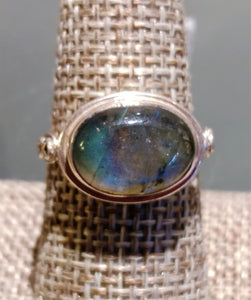Labradorite Sterling Silver Ring - Ruby Dragon