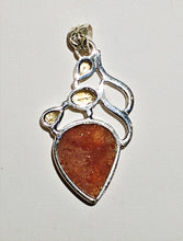 Sunstone Sterling Silver Pendant - Ruby Dragon