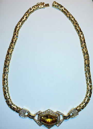 Citrine and Diamond Gold Necklace - Ruby Dragon