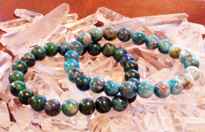 Creativity Bracelet Set ~ Apatite & Chrysocolla - Ruby Dragon