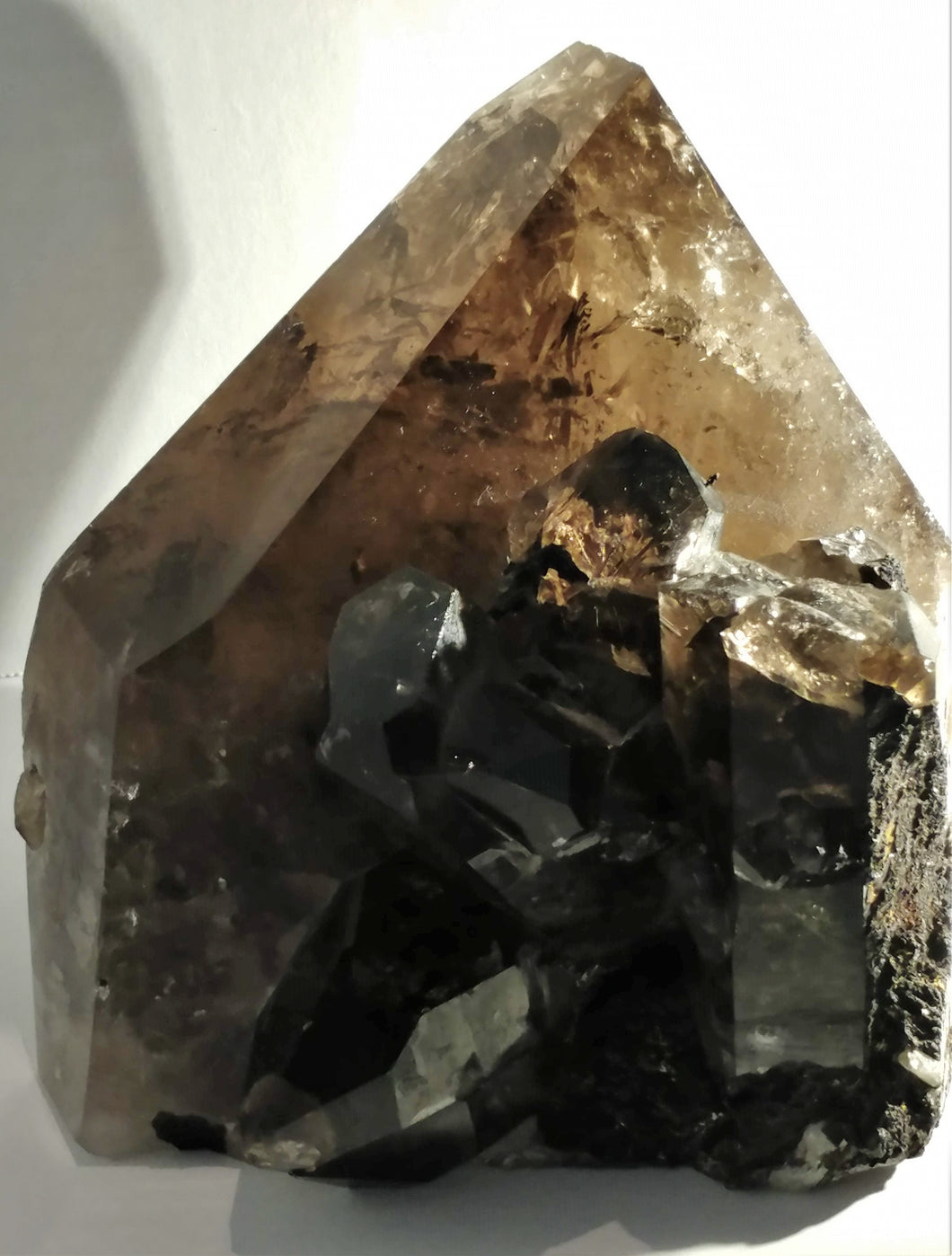 Smoky Quartz Cluster Standing Point - Ruby Dragon