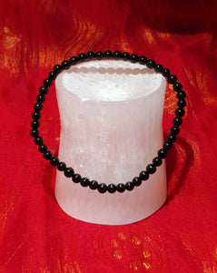 Selenite Carving & Black Tourmaline Bracelet Set - Ruby Dragon